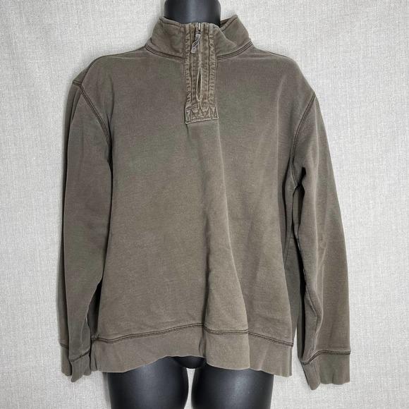Eddie Bauer Men Sweatshirt Pullover Zip L Brown